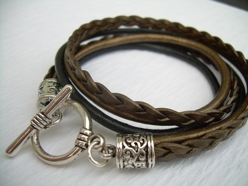 Womens Bracelets Womens Leather Bracelets Braided Bracelet image 1