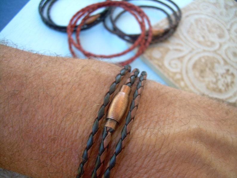 e9675fee728e Thin Triple Wrap Braided Leather Bracelet with Copper Toned