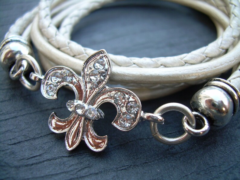 98cc3ff46a8 Womens Fleur de lis Bracelet Womens Leather Bracelet White
