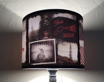 Twin Peaks inspired lamp shade lampshade - lighting, woodland, accent lampshade, holiday decor, mountains, Christmas decor, art, wild west