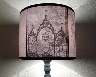 Halloween lamp shade etsy gothic decor lamp shade lampshade requiescat in pace lighting gothic home decor goth skull spooky shades cemeterygraveyardhalloween aloadofball Images