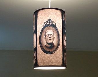 Gothic lampshade etsy bride of frankenstein pendant light shade lampshade gothic decor classic horror movie goth decor ceiling pendant lamp shadedamask aloadofball Image collections