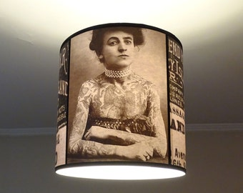 Vintage Tattoos hanging lamp shade lampshade - victorian light, tattoo shop decor, drum lamp shade, pendant light, black and white, parlor
