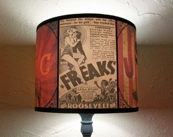 Circus Freaks lamp shade Lampshade - Bohemian decor, circus party, freakshow, burlesque decor, red lamp shade, Freaks movie, table lamp
