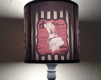 Burlesque Cabaret Lampshade lamp shade - pinup art, circus, burlesque decor, gift for her, boudoir lamp shade, striped, valentine's day gift