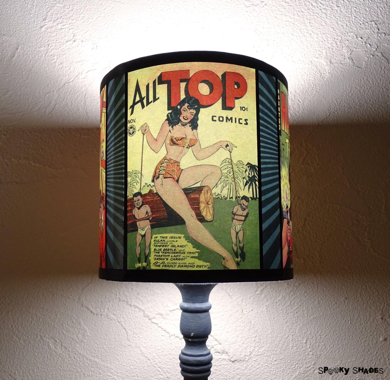 abat jour jaune pour lampe comic covers abat jour d co etsy. Black Bedroom Furniture Sets. Home Design Ideas