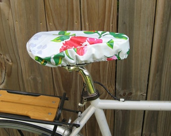 Waterproof saddle cover for biking - White Peony