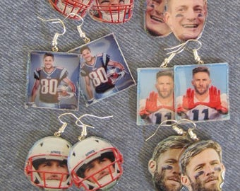 Super Bowl New England Patriots Tom Brady Rob Gronkowski Danny Amendola Julian Edelman Earrings
