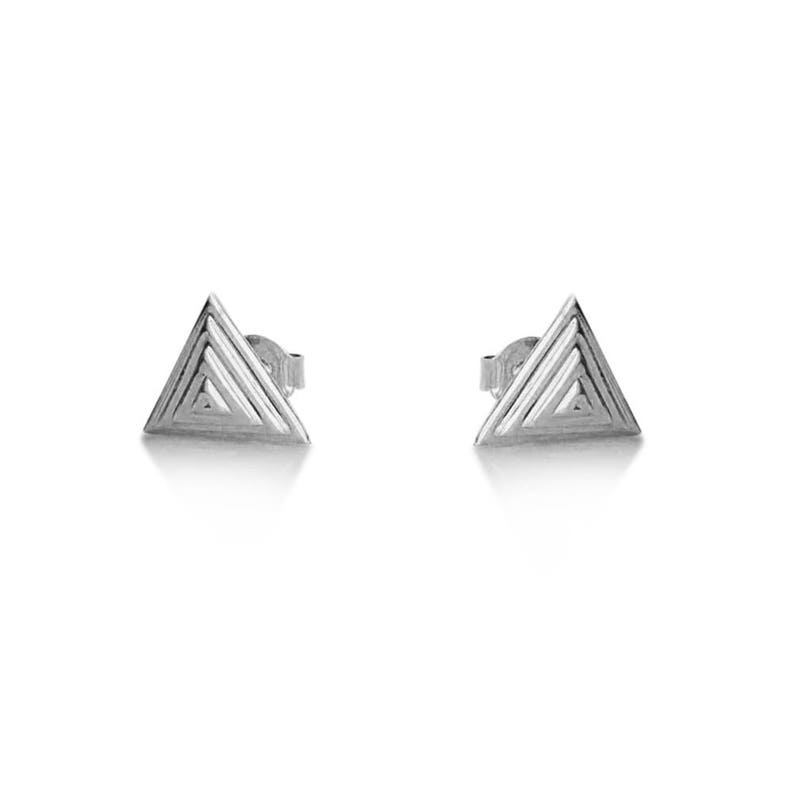 46aa7d947987f 14K White Gold gold pyramid stud earrings