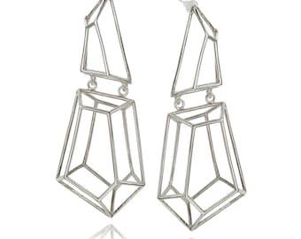 Sterling Silver Geometric long Cage Drop Earrings