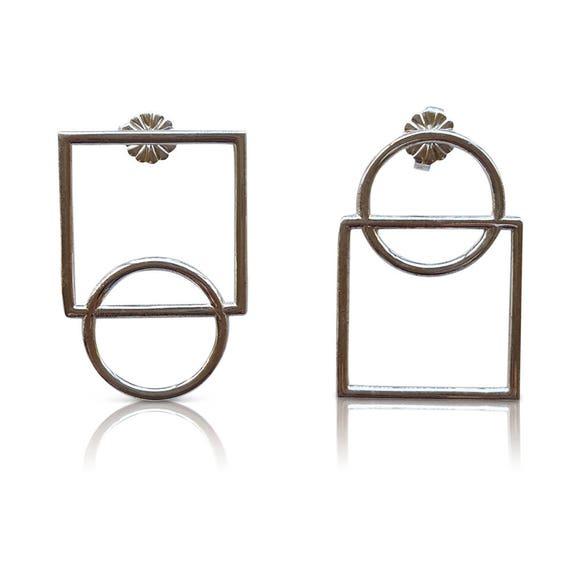 27fb889c8bb Asymmetrical Square Circle Sterling silver stud earrings