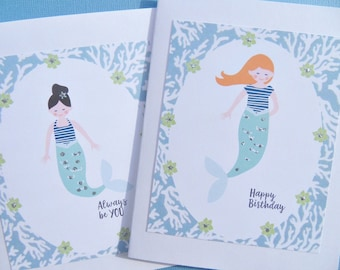 Mermaid Birthday Cards, Nautical Cards, Friendship Cards, Encouragement Cards, Cards for Her, Mermaid Birthday Cards, mmc2