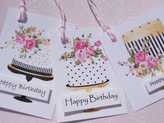 Happy Birthday Gift Tags Bag Cake