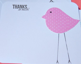 Baby Gift Thank You Cards - Shower Thank You Cards - Baby Chick Thank You Cards - Polka Dot Thank You Cards - LBCTY
