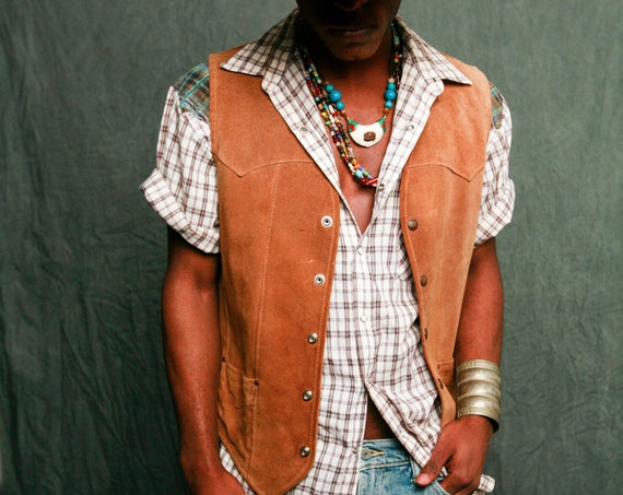 Contrast Plaid Western Shirt - Customized Vintage