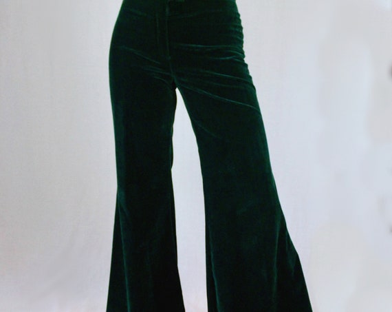 Wide Bell Bottom High Waisted Bottle Green Velvet Flare Pants - Authentic Vintage