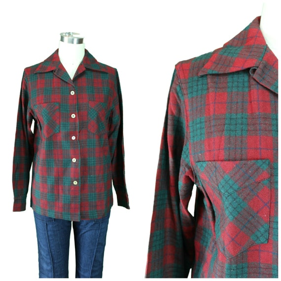 1950s Vintage Button down/ Vintage Christmas Button front/ Plaid 1950s Button front/ Plaid Double Pocket Shirt/ Lumberjack Plaid Shirt
