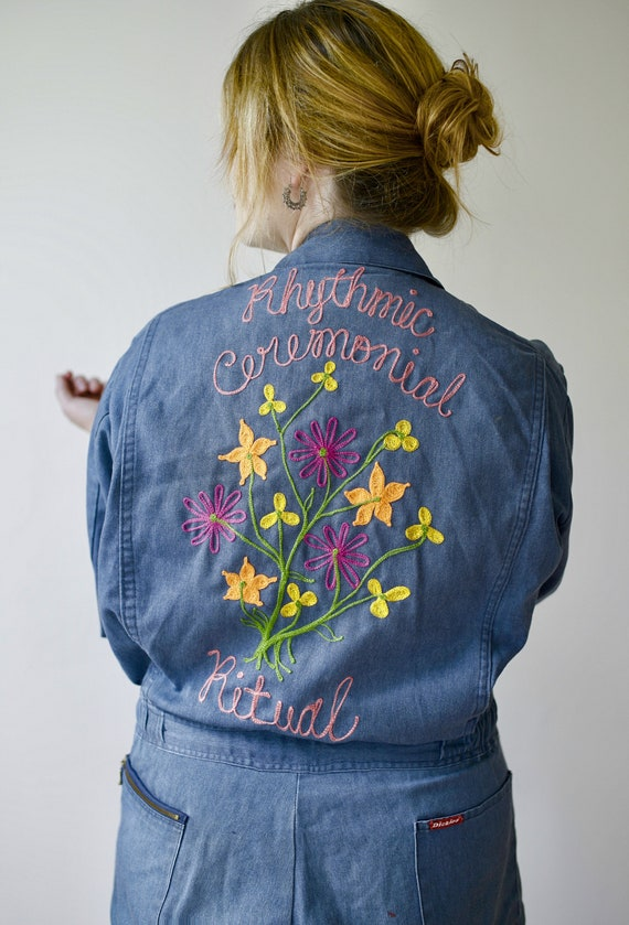 Embroidered Chainstitch Groovy Boilersuit Coveralls - Customized Vintage