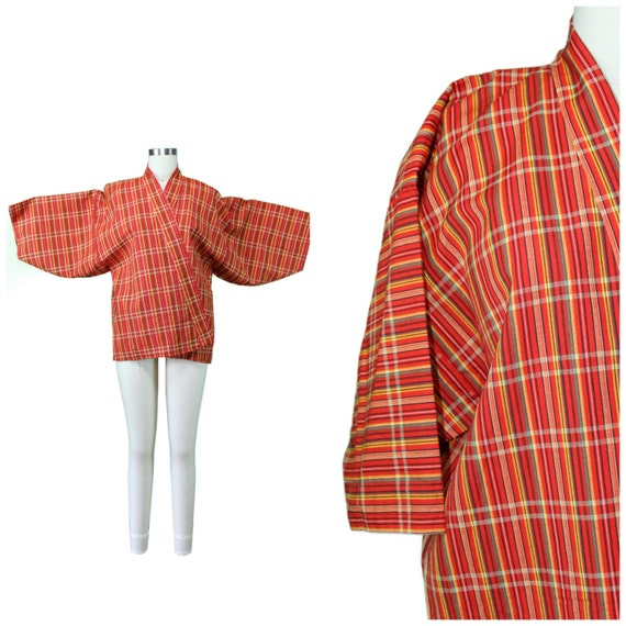 Plaid Cotton Kimono - Authentic Vintage