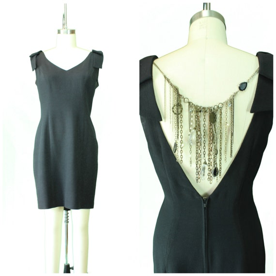 Vintage 1980s Women's Dress/ Vintage Little Black Dress/ Redesigned Vintage Dress/ Embellished 80's Black Dress/ 1980s Cocktail Dress