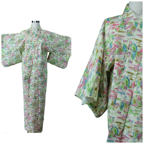 Printed Cotton Kimono  - Authentic Vintage