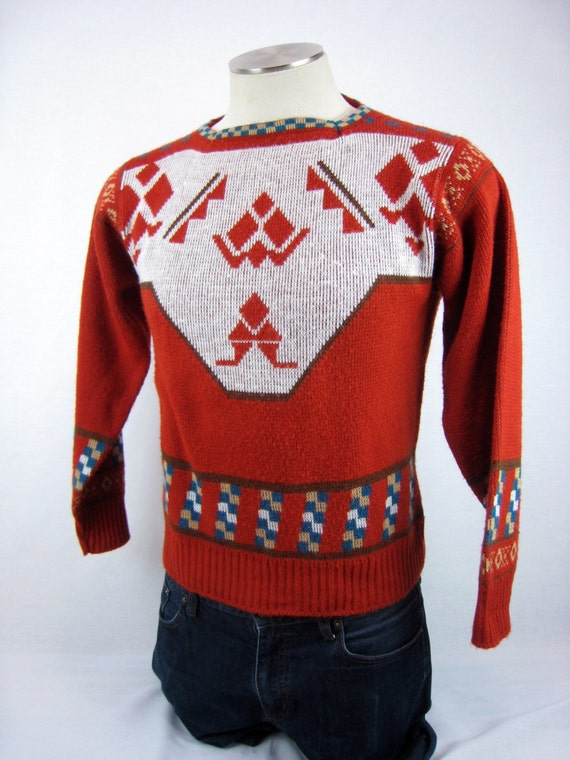 Vintage 1960s Sweater / Après Ski Print Sweater / 60s Ski Sweater / Geometric Print Sweater / Rust Sweater / Cabin Chic Sweater