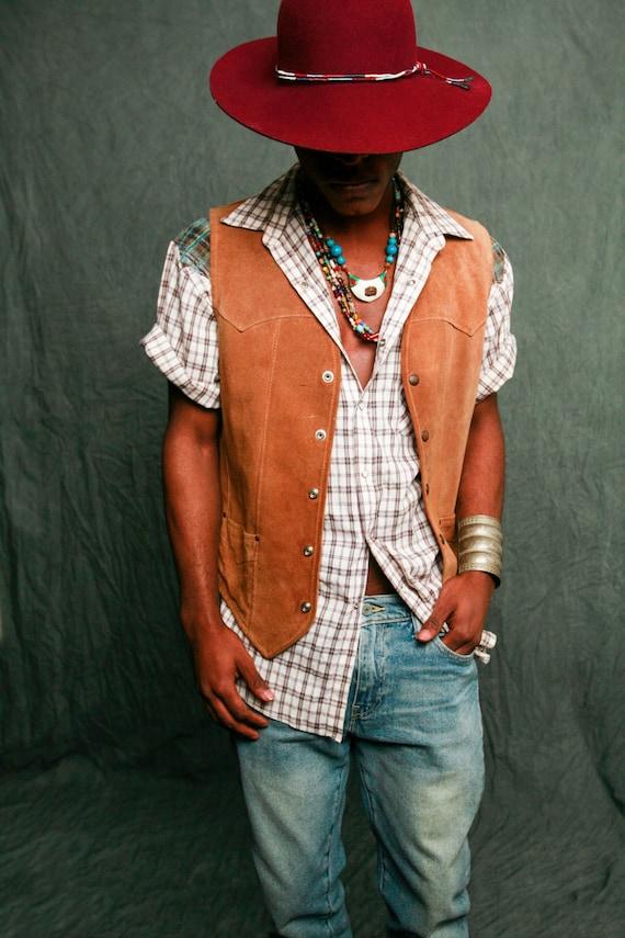 Contrast Plaid Western Shirt - Customized Vintage