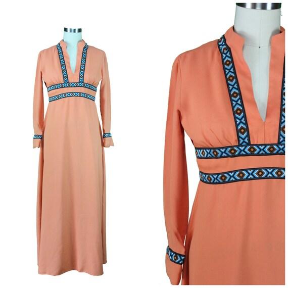 Boho Aztec Trim Dress - Authentic Vintage