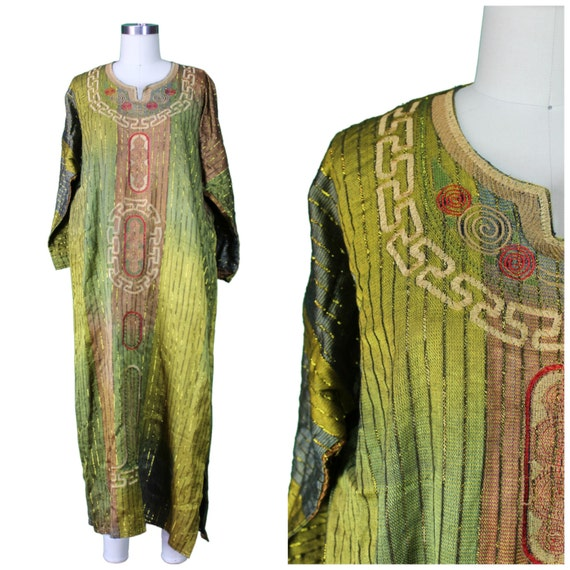Vintage Printed Kaftan / Vintage Earthy Caftan / Ethnic Tunic Dress / Ethnic Vintage Kaftan / Vintage Leisure Dress / Vintage Ethnic Dress