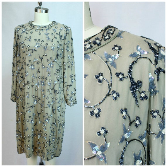Vintage Beaded Designer Dress - Authentic Vintage