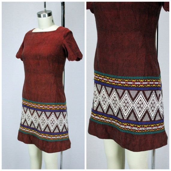 Embroidered Mini Dress - Authentic Vintage
