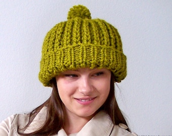 Knit Hat With Pom Pom Hat, Chunky Hat, Slouchy Beanie Hat, Womens Hats, Slouch Hat, Slouch Beanie, Slouchy Hat, Hand Knit Hat, Green Hat