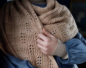 Knitting Pattern Scarf, Knit Scarf Pattern, Scarf Knitting Pattern, Scarf Knit Pattern, Cable Lace Scarf Pattern, Homestead Wrap Pattern