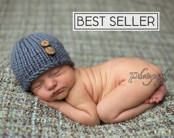 Newborn Photo Prop Boy, Newborn Hat Boy, Baby Shower Gift, Knit Baby Hat, Newborn Boy Hat Photo Prop, Knit Newborn Beanie, Knit Newborn Hat