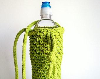 Water Bottle Holder, Lime Green Water Bottle Cover, Crochet Water Bottle Cozy, Crochet Bottle Holder Yoga Water Bottle Neon Green Vegan Gift