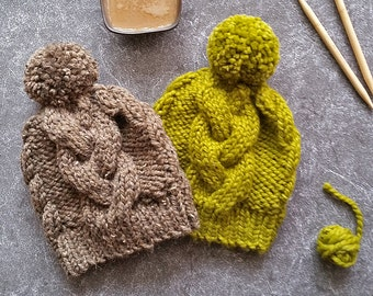 Knitting Pattern Hat, Knit Hat Pattern, Cable Knit Hat Pattern, Chunky Knit Hat Pattern, Pom Pom Hat Pattern, Knit Beanie Pattern Pom Beanie