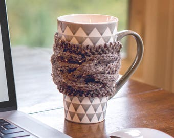 Knit Cup Cozy, Coffee Cup Sleeve, Hygge Decor, Coffee Cup Cozy, Coffee Mug Cozy, Knit Coffee Sleeve, Coffee Cozy, Rustic Decor, Rustic Gifts
