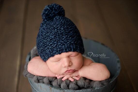 Newborn Pom Pom Hat Baby Pom Pom Hat Knit Newborn Hat Boy  d0f1faa7c91