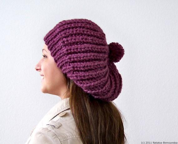 Purple Hat Women Purple Pom Pom Hat Purple Winter Hat  5f770d15cb1
