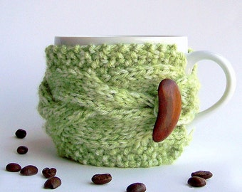 Coffee Mug Cozy, Green Coffee Cozy, Green Tea Cozy, Coffee Cup Cozy, Coffee Cup Sleeve, Coffee Sleeve, Coffee Cup Sleeves, Coffee Sleeves
