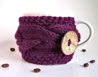 Coffee Sleeve, Coffee Cozy, Coffee Mug Cozy, Knit Cup Cozy, Coffee Cup Cozy, Tea Cozy, Coffee Mug Sleeve Coffee Cup Sleeve Purple Coffee Mug