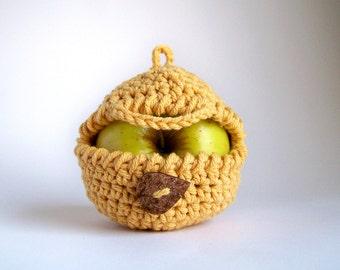 Yellow Apple Cozy, Honey Mustard Fruit Cozy - Cyber Monday Etsy - Cotton Lunch Mom Friend Coworker, Banana Harvest Crochet