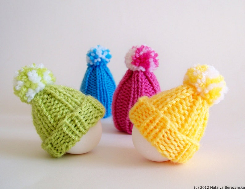 Knitting Pattern Egg Hat Pattern Egg Cozy Pattern Pom Pom image 0