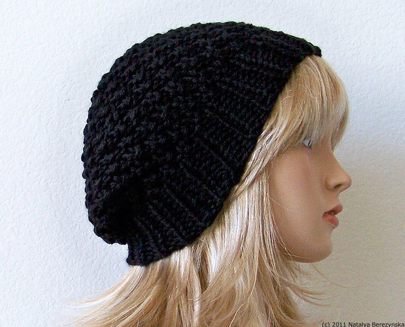 de702dc5 Black Slouchy Beanie Hat Black Knit Hat Knit Slouchy Hat | Etsy