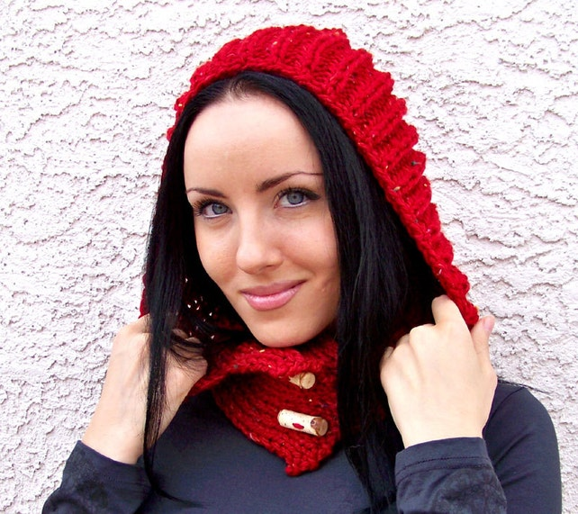 Knitting Pattern Knit Hood Pattern Hooded Scarf Pattern Etsy