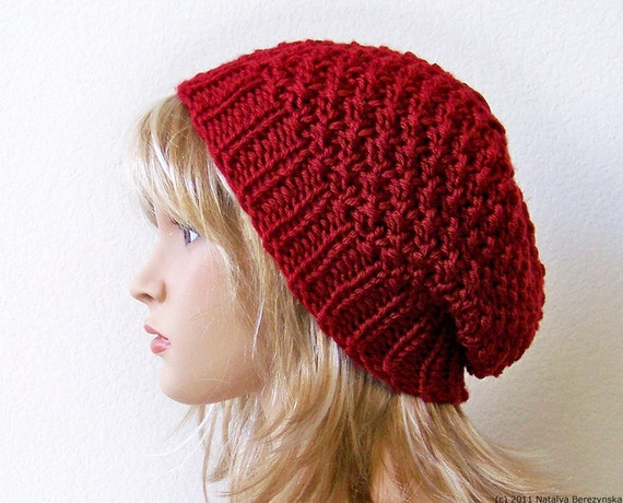 Slouchy Hat Pattern Knit Hat Pattern Knitting Pattern Hat Etsy