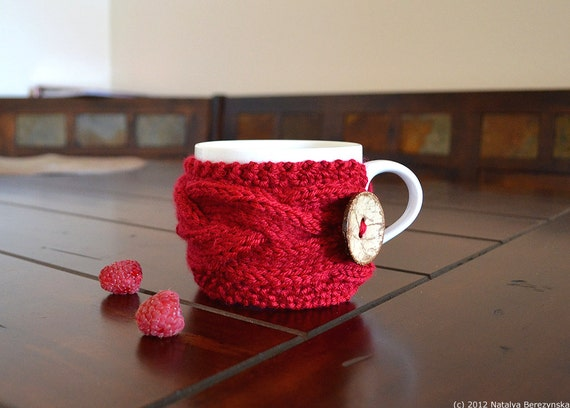 Knitting Pattern Knit Cup Cozy Patterns Knit Coffee Cozy Etsy