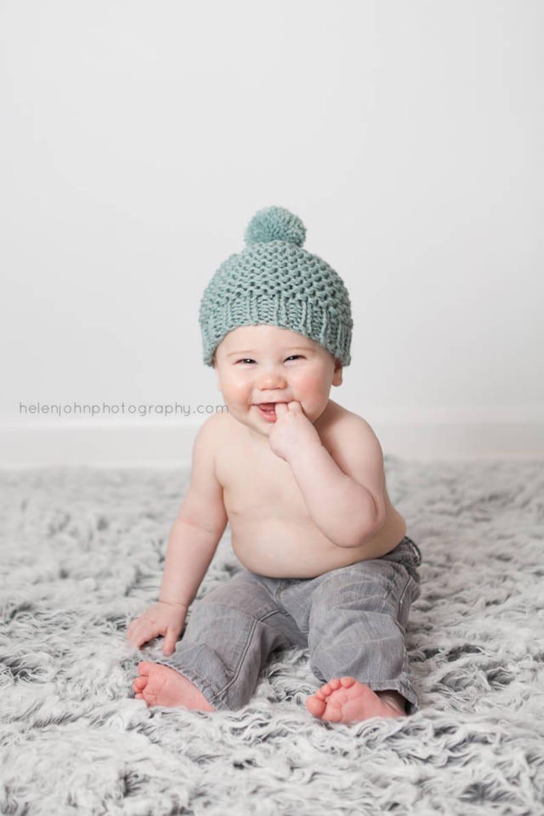 eb5f88df05b Knit Baby Hat Baby Pom Pom Hat Baby Pom Pom Beanie Knit