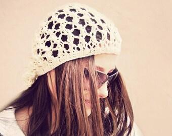 Knit Hat, Boho Hat, Summer Hat, Mesh Hat, Slouchy Beanie Women, Slouchy Hat, Slouch Beanie, Summer Beanie, Summer Beanie Hat, Bohemian Hat