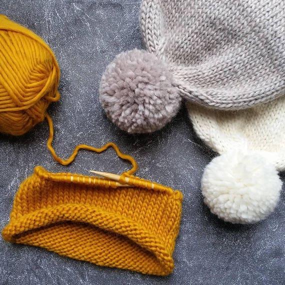 Hat Knitting Pattern Double Brim Beanie Pattern Knitting Etsy